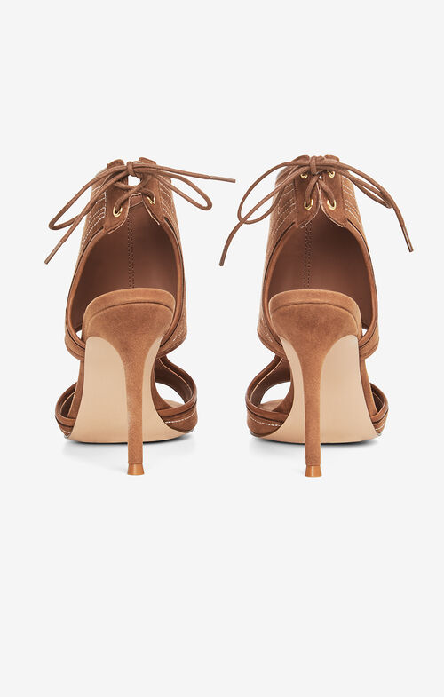 Myah Embroidered Faux-Suede Sandal
