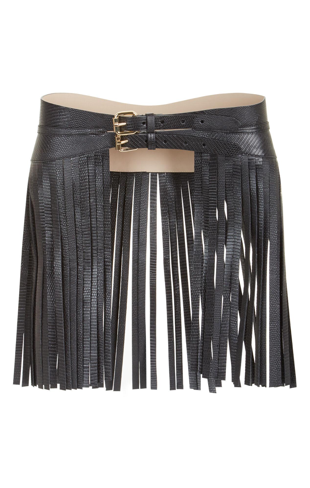 fringe faux leather fringe waist belt
