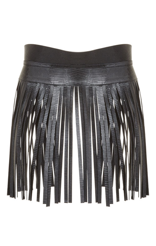 Fringe Faux-Leather Fringe Waist Belt