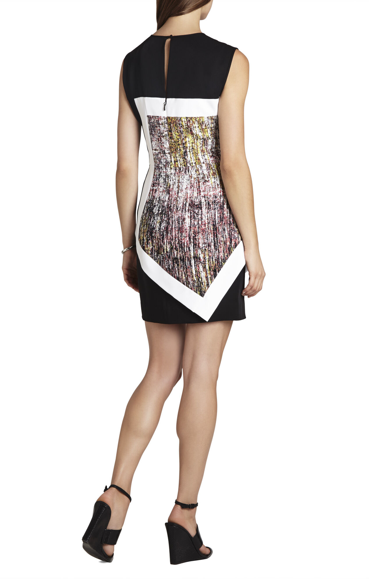 Alessandra Sleeveless Print-Blocked Dress