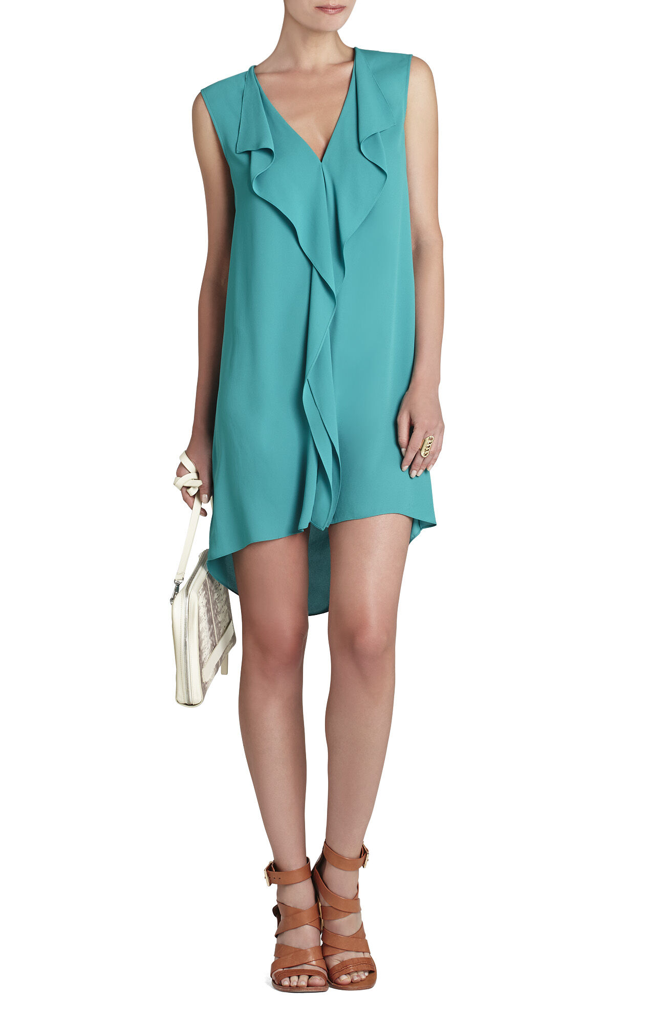 Jena Sleeveless Draped-Placket Shift Dress