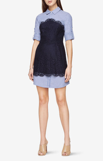 Kaylin Lace-Blocked Striped Shirt Dress