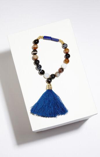 Beaded Stone Tassel Bracelet