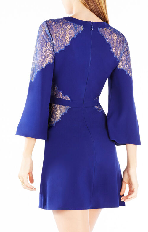 Ulyana Lace-Up Lace-Blocked Dress