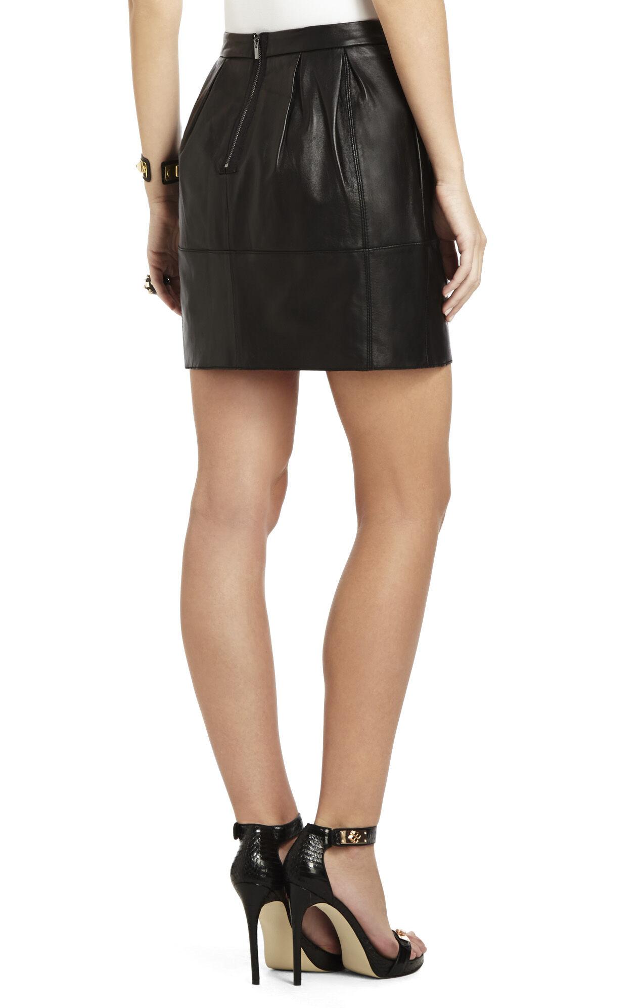 Avara Leather A-Line Skirt