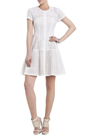 Macy Blocked-Lace Flared Skirt Dress