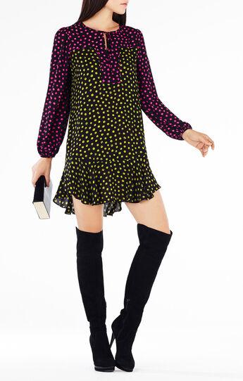 Dinah Dotted Print-Blocked Dress