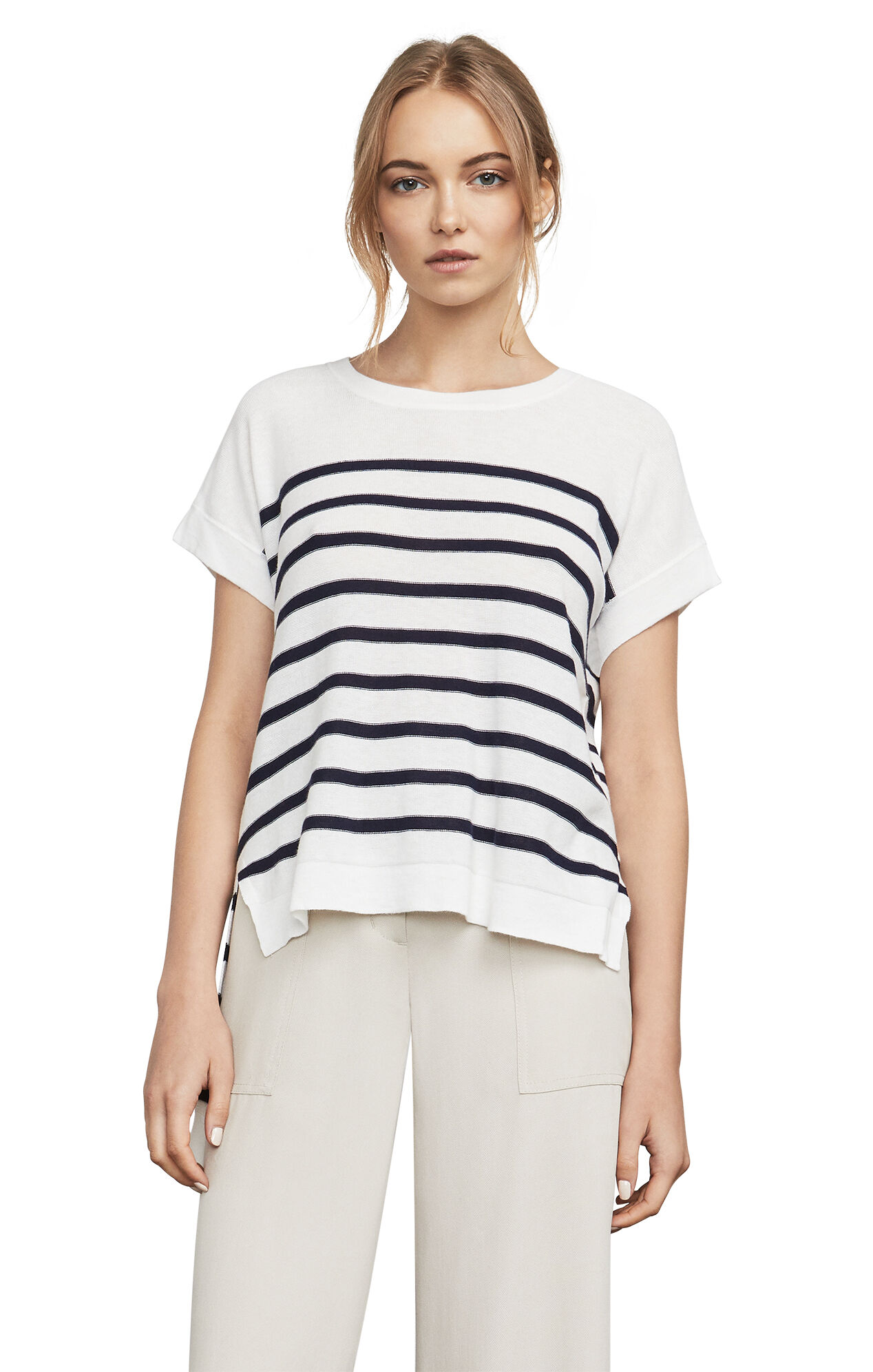 Emmaline Striped High-Low Hem Pullover