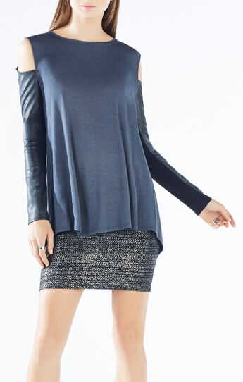 Judson Faux-Leather Sleeve Top