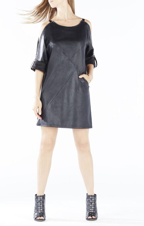 Yana Zip-Shoulder Faux-Leather Dress