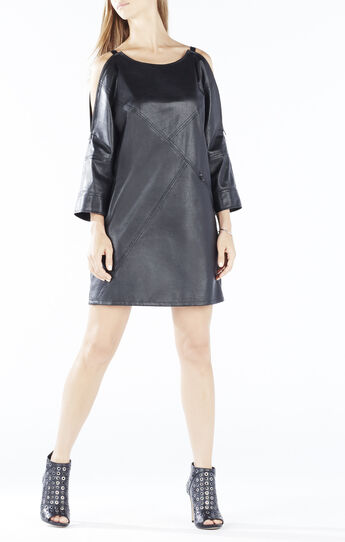 Yana Zip-Shoulder Faux-Leather Dress