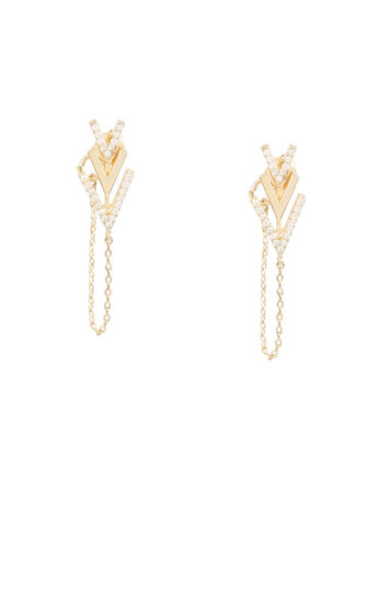 Stone Chevron Chain Earrings