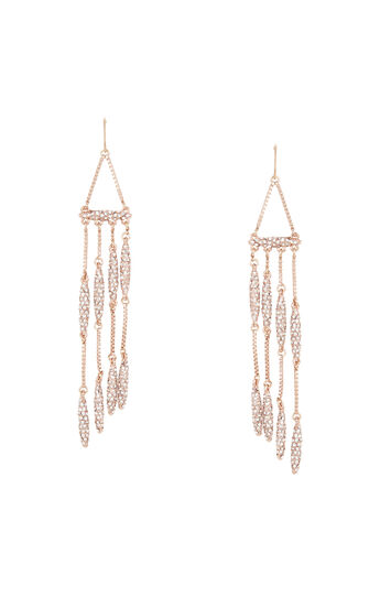 Pave Box Chain Fringe Earrings
