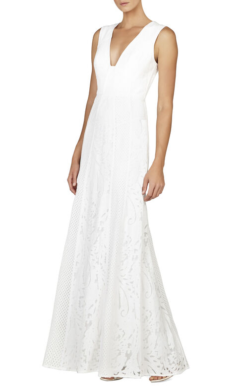 Elisia Sleeveless Lace-Blocked Gown