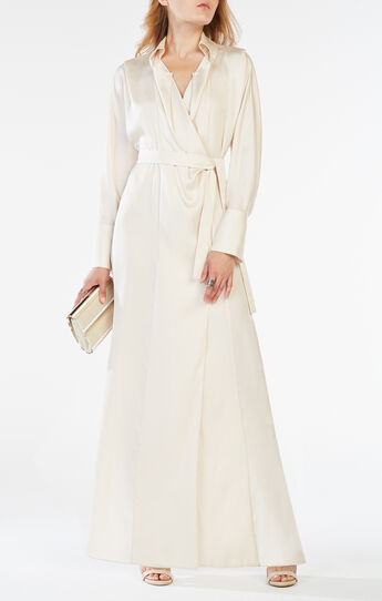 Ziata Draped-Front Long Shirt Dress