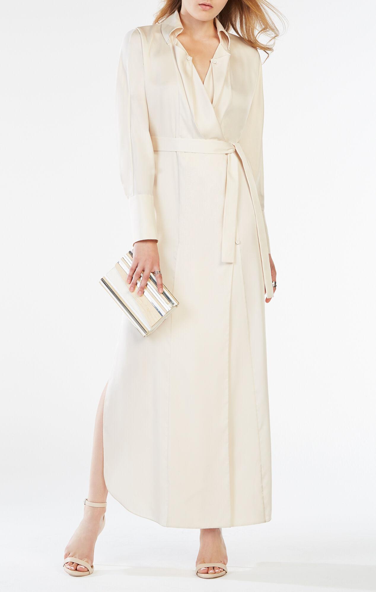 Ziata Draped-Front Long Shirt Dress
