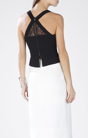 Kandice Asymmetrical Lace-Blocked Top