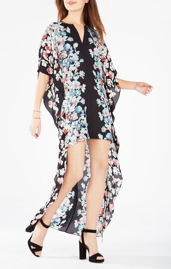 Dameka Floral Print High-Low Dress