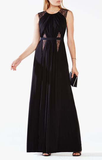 Stehla Lace-Blocked Jersey Gown