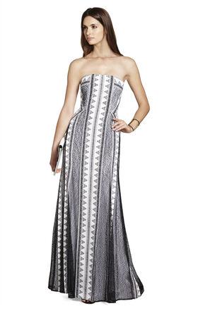 Kia Strapless Print-Blocked Dress