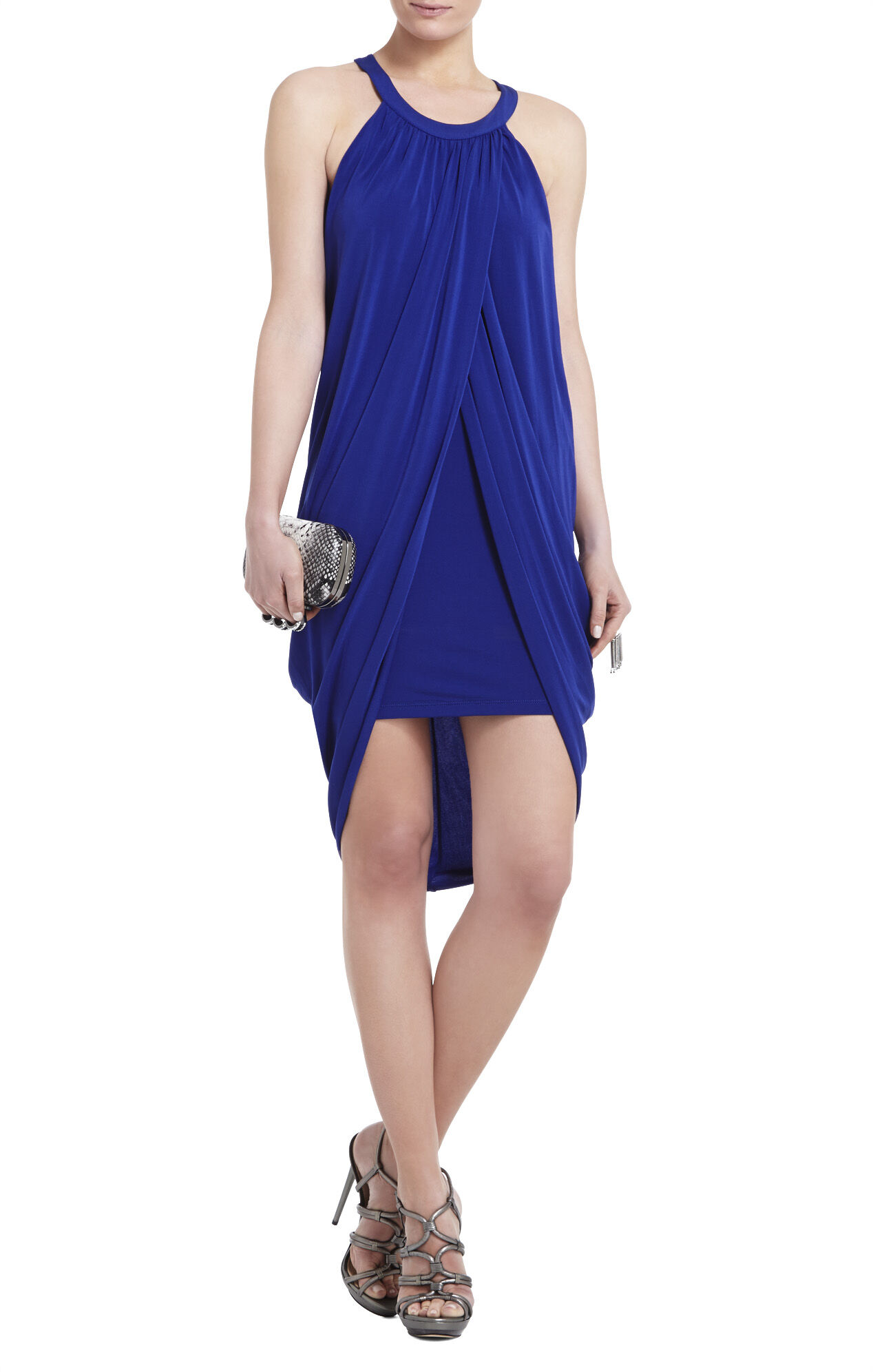 Aurora Sleeveless Draped-Overlay Dress