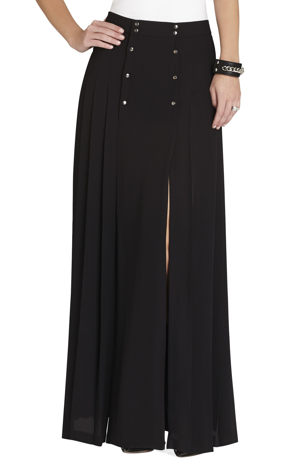 Lanae Snap-Front Long Pleated Skirt