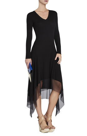 Tiffany Long-Sleeve Asymmetrical Dress