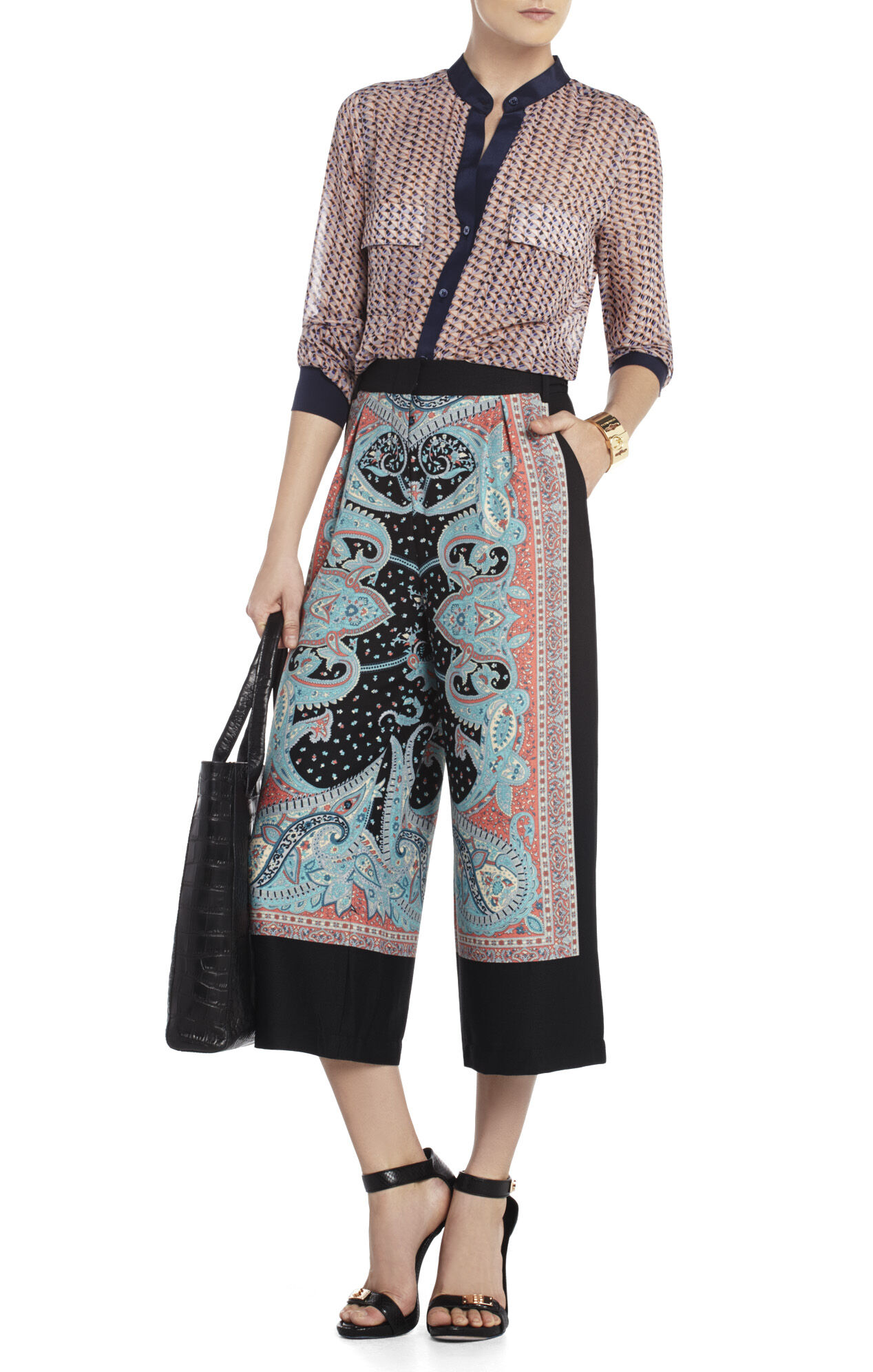 Allen Cropped Printed Wide-Leg Pant