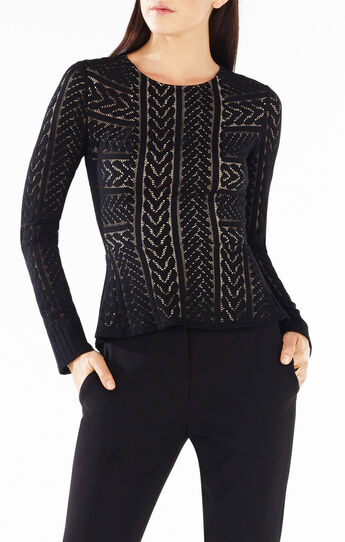Pietreo Cable Stripe Lace Top