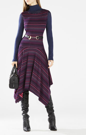 Eleyna Striped Asymmetrical Knit Jacquard Dress