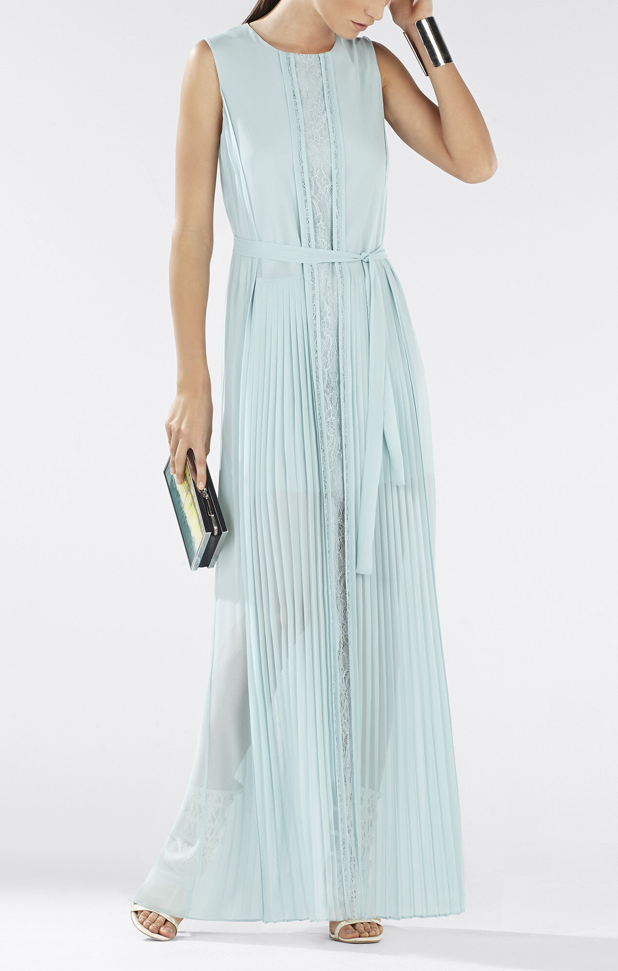 Adriena Sleeveless Lace-Blocked Gown