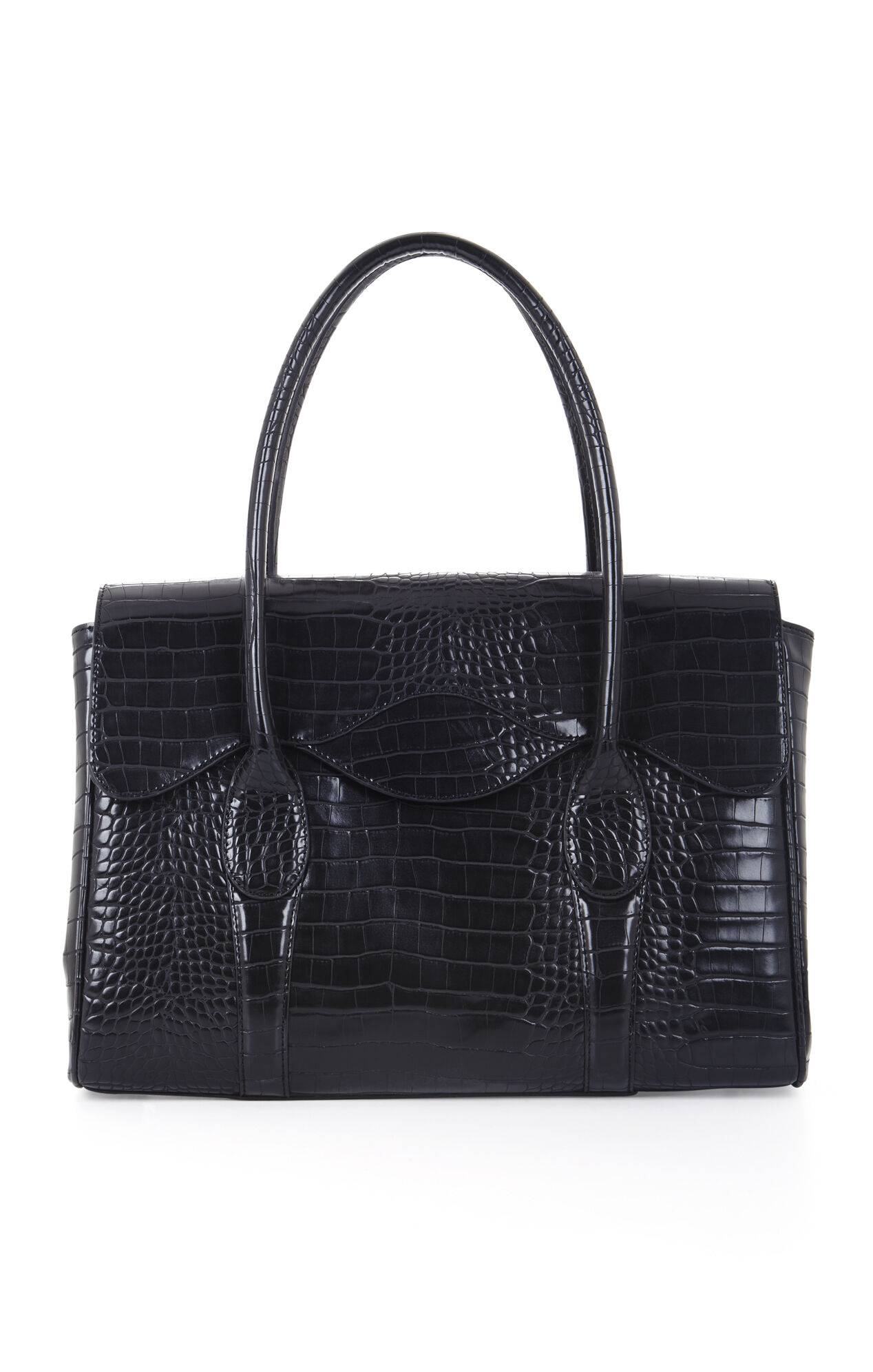 Paige Croco-Embossed Faux-Leather Satchel