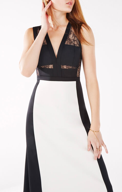 Oudette Lace-Blocked Gown