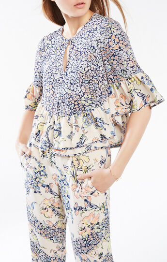 Immane Floral Print-Blocked Ruffle Top