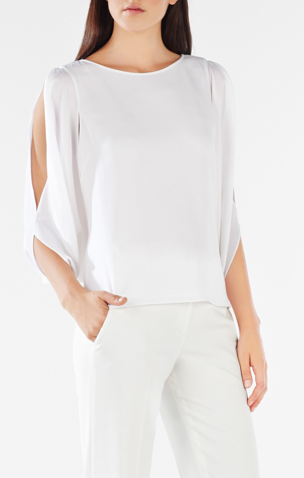 50 Best Back To Front Before After Remodelling Projects: Kyleigh Fringe-Back Slit-Sleeve Top
