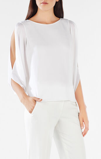 Kyleigh Fringe-Back Slit-Sleeve Top