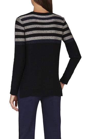 Wanda Striped-Sleeve Color-Blocked Pullover