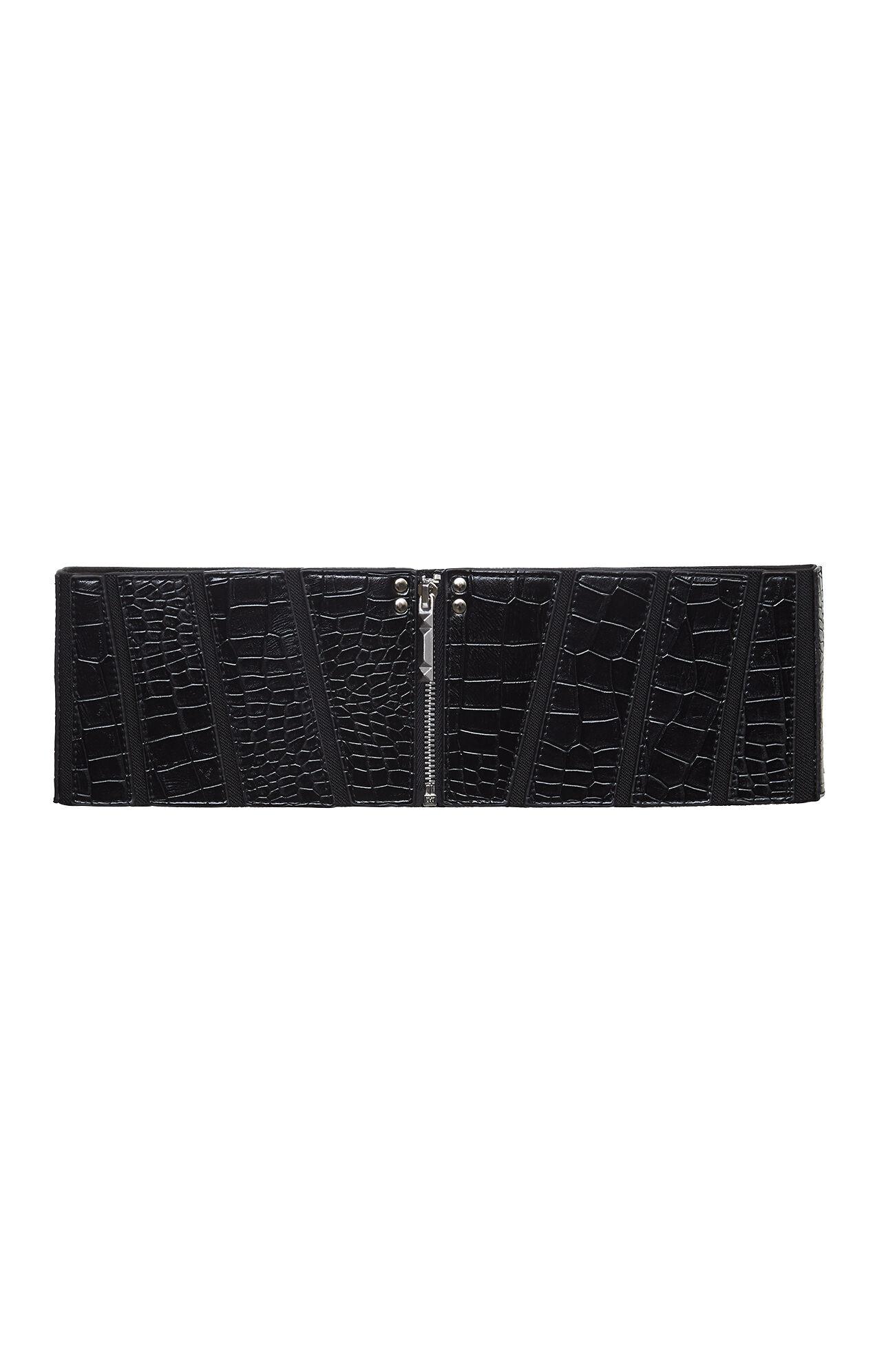 Paneled Zipper-Front Belt