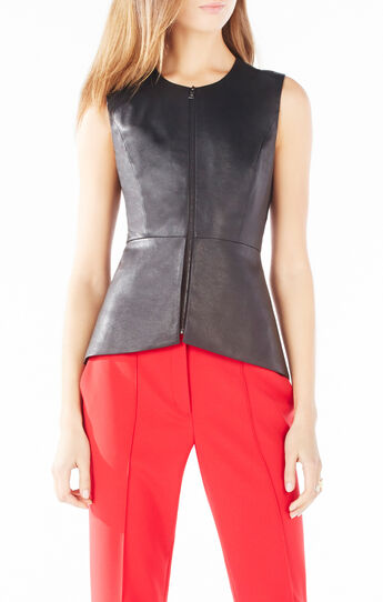 Abrielle Faux-Leather Peplum Top