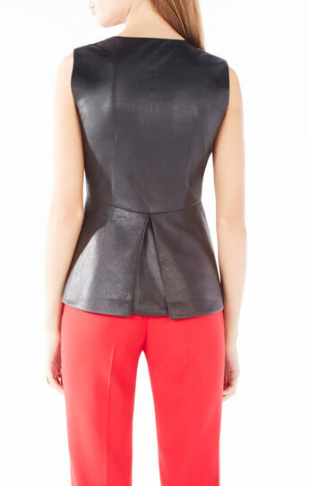 Abrielle Faux-Leather Peplum Top