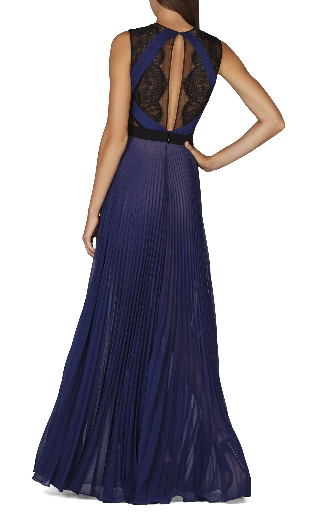 Cortney Sleeveless Pleated Lace-Trim Gown