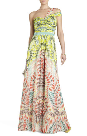 Inga One-Shoulder Printed Silk Gown