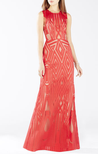Veira Sleeveless Geometric Lace Gown