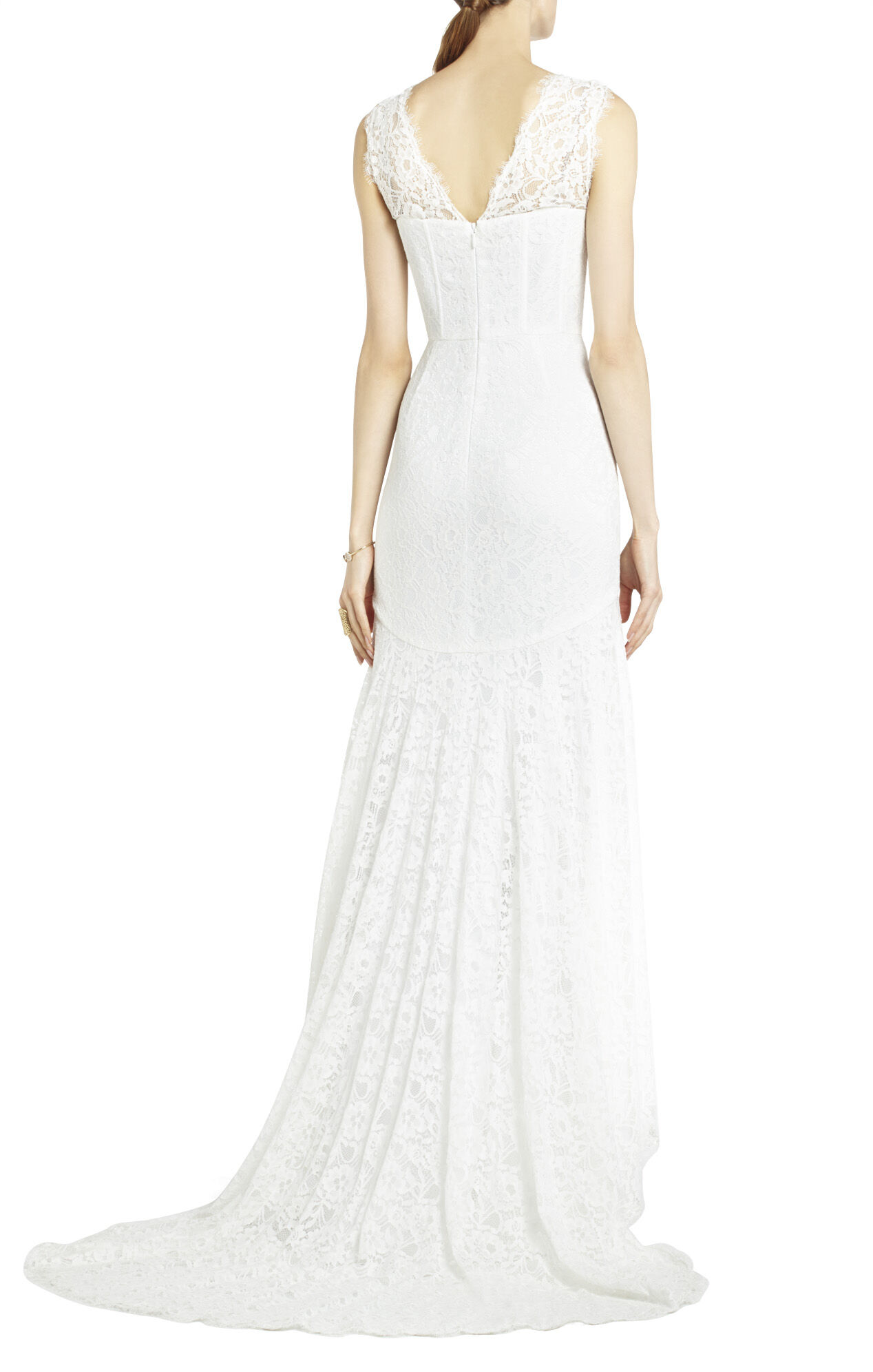 Clarissa Sleeveless Lace High-Low Gown
