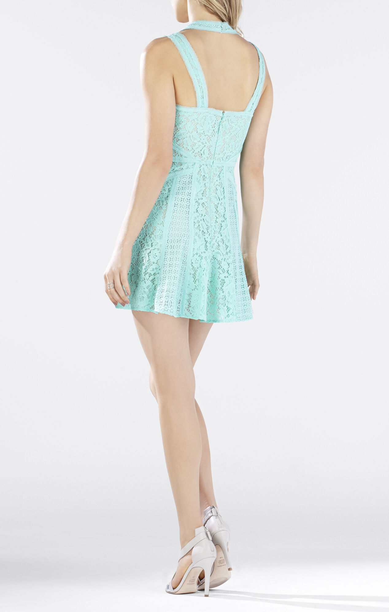 Kelia Sleeveless Lace-Blocked Dress