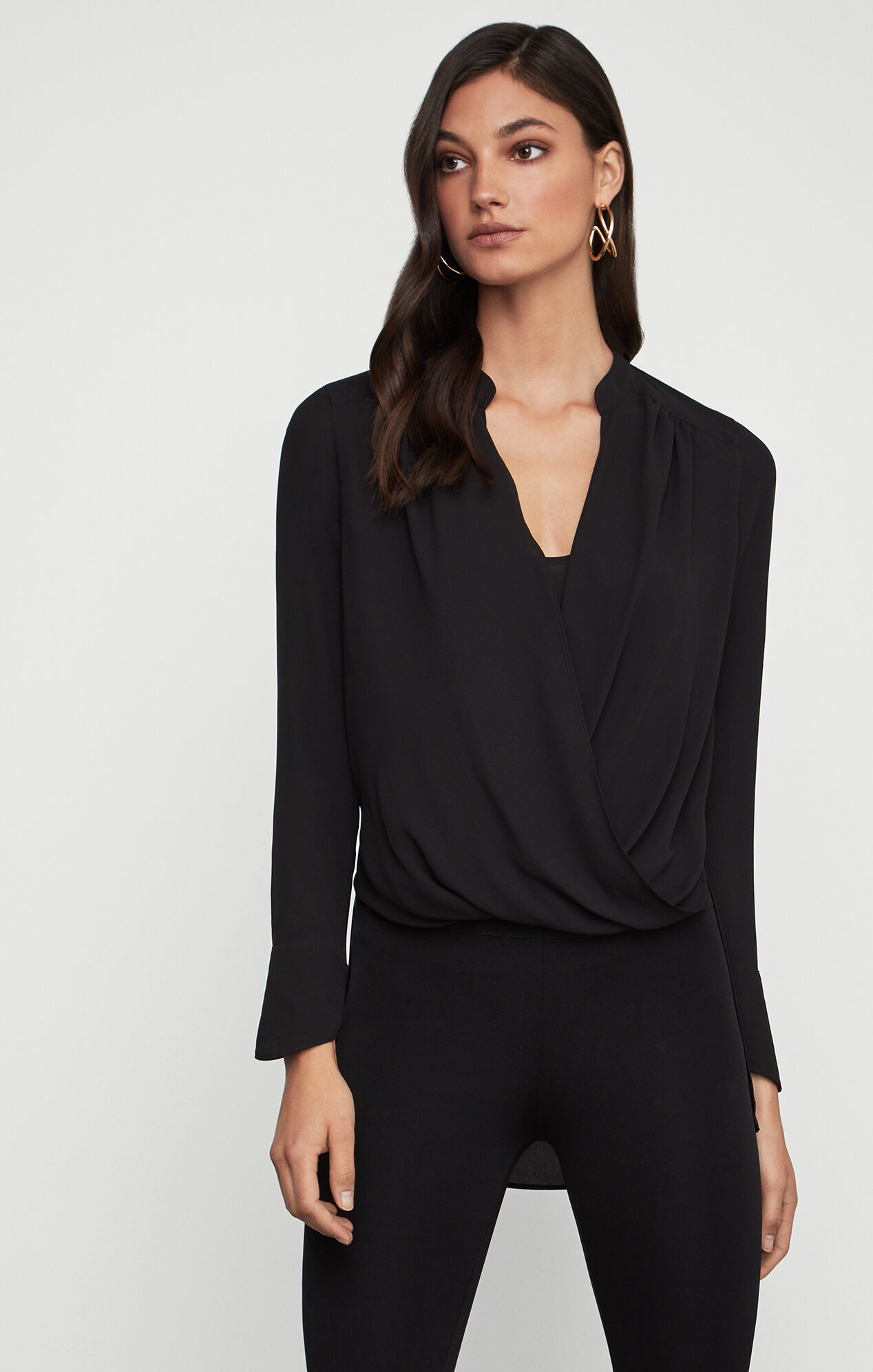 Jaklyn Draped-Front Blouse