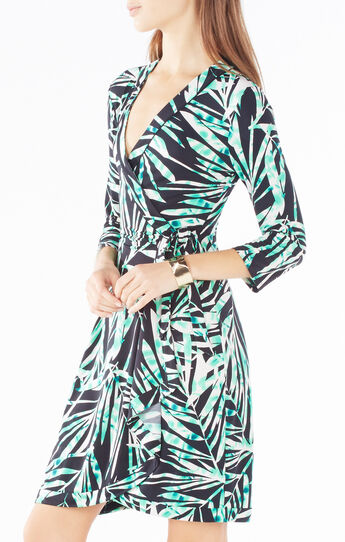 Adele Palms Print Wrap Dress