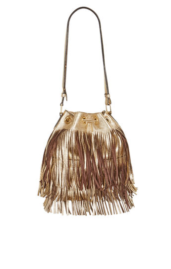 Josefina Metallic Fringe Bucket Bag
