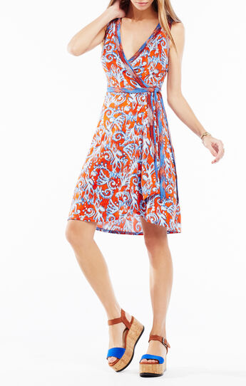 Hallee Ikat Scrolls Print Wrap Dress