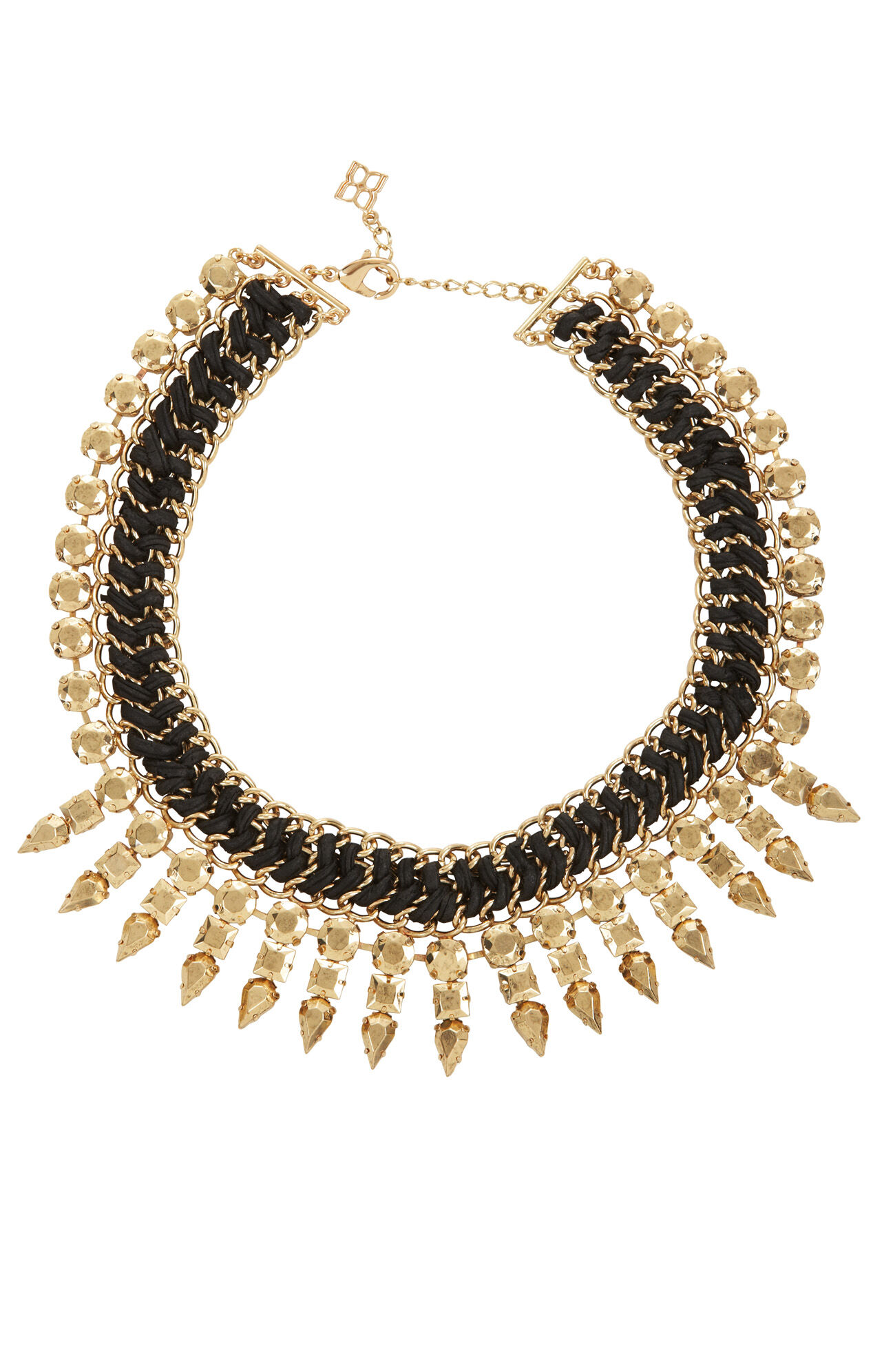 Leather-Woven Spike Necklace